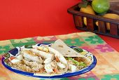 stock photo of chipotle  - Two Chicken breast wraps with chipotle mix on colorful plate with typical Tex - JPG