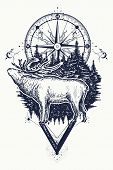 Reindeer And Compass Tattoo. Deer And Compass Ethnic Tribal Tattoo. Adventure, Travel, Outdoors, Sym poster