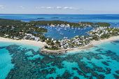 Aerial view of the harbour, beach and lighthouse in Hope Town on Elbow Cay off the island of Abaco,  poster