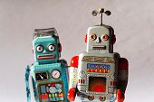 Angry Vintage Tin Toy Robots, Artificial Intelligence, Robotic Delivery Concept poster