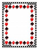 image of playing card  - Illustrated playing cards Background border or frame showing suits - JPG