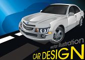 Modern powerful sports Sedan, original car design. Scalable vector illustration art.