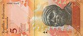 picture of bolivar  - Five bolivar bill of Venezuela 2008 year - JPG