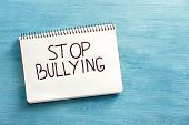 Notebook with text Stop bullying on color background, top view poster