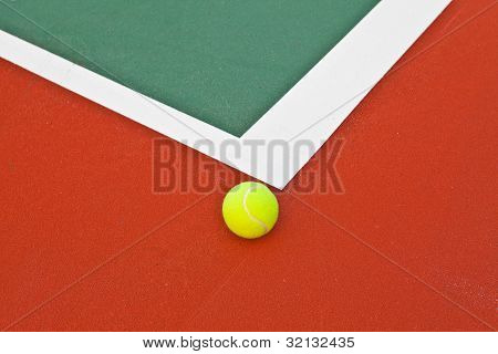 Tennis Court With Ball