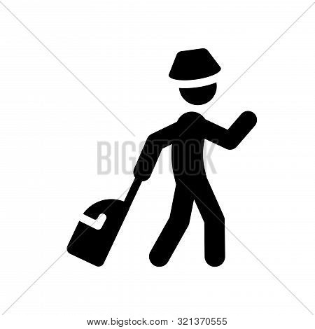 poster of Travelling Line Icon On White Background. Outline Travelling Symbol Can Be Use Logo, Mobile, Web, Ap