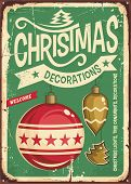 Christmas Ornaments Sale Vintage Tin Sign. Hanging Christmas Baubles On Retro Green Background. Fest poster
