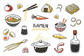 Doodle Ramen. Chinese Hand Drawn Noodle Soup With Food Sticks Bowls And Ingredients. Vector Asian Fo poster