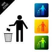 Man Throwing Trash Into Dust Bin Icon Isolated. Recycle Symbol. Trash Can Sign. Set Icons Colorful S poster