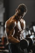 Handsome Strong Athletic Men Pumping Up Muscles Workout Fitness And Bodybuilding Concept Background poster