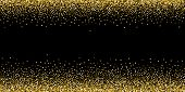 Round Gold Glitter Luxury Sparkling Confetti. Scattered Small Gold Particles On Black Background. Ar poster