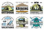 Hiking, Camping And Kayaking, Outdoor Adventure And Expeditions Sport Icons. Vector Diving On Family poster