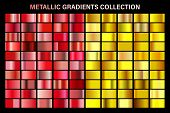 Ruby Red And Golden, Yellow Glossy Gradient, Gold Metal Foil Texture. Color Swatch Set. Collection O poster