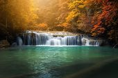 Beautiful Nature Scenic Of Waterfall In Autumn Season Forest, Amazing Colorful Natural Landscape Sce poster