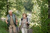 Cheerful mature active couple enjoying trekking in the forest or park while moving between bushes poster