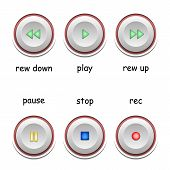 Media Player Icons. Player Buttons Set. Multimedia Control Icons. Symbols For Play, Stop, Pause, Rec poster