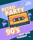 Retro Party Poster. 90s Label With Stereo Audio Cassette Music Background Vector Placard. Poster Ret poster