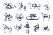 Horse Racing And Jockey School Isolated Monochrome Logos. Vector Equestrian Sport, Horses On Hippodr poster