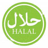 Green Round Halal Rubber Stamp Print Or Logo With Arabic Script For Word Halal poster