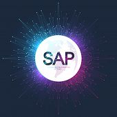 Sap Business Process Automation Software. Erp Enterprise Resources Planning System Concept Banner Te poster