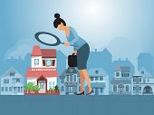 Real Estate Investments Vector Illustration. Real Estate Agent Inspecting A House With Magnifier. Bu poster