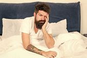 Energy And Tiredness. Sleepy And Handsome. Asleep And Awake. Too Early To Wake Up. Bearded Man Hipst poster