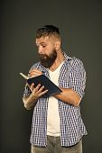 Writing Means Sharing Thoughts And Ideas. Hipster Writing In Notebook On Grey Background. Bearded Ma poster