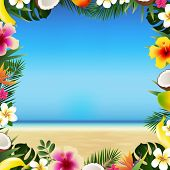 Tropical Beach With Sea And Sand With Tropical Leaves And Fruit poster