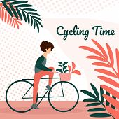 Young Man Riding Bicycle With Flowers In Front Basket On Park Background. Active Character Enjoying  poster