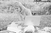 Guide Starting Freelance Career. Business Lady Freelance Work Outdoors. Woman With Laptop Sit On Rug poster