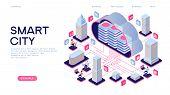 Smart City Or Intelligent Building Isometric Vector Concept. Smart Home Control Concept. Concept Hom poster
