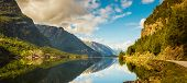 Summer Hardanger Fjord Near Trolltunga, Norway Landscape poster