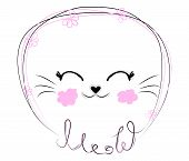 Hand Drawn Illustration Of A Funny Cat Girl Face In A Flower Chain, With Text Meow. Isolated Objects poster