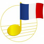 France Flag And Musical Note. Music Background. National Flag Of France And Music Festival Concept   poster