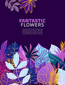 Floral Fantastic Flowers And Leaves Vector Illustration. Ornament. Fantastic Flower With Leaves On D poster