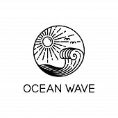 Vector Design Of Ocean Waves And Sunshine Line Art Style Isolated White Background, Wave Logo Line A poster