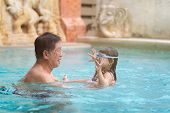Senior Asian Man Is Enjoying Time With Him Adorable Three Year Old Grandchild In A Swimming Pool, Ha poster