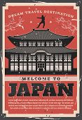 Welcome To Japan, Ancient Sacred Pagoda Building And Ninja Silhouette Skilled In Ninjutsu On Roof. V poster