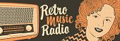 Vector Banner For Radio Station With An Old Radio Receiver, Woman Face And Inscription Retro Music R poster