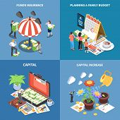 Wealth Management Isometric Design Concept With Money Resources Funds Insurance Planning Budget Capi poster