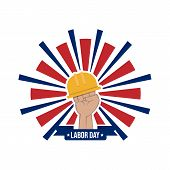 Happy Labor Day Vector Label With Hand And Safety Helmet Isolated On White Background poster