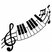 Treble Clef And Piano Board With Music Note poster