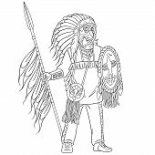 Colouring Page. Cute Cartoon Native American Indian Warrior With A Spear. Childish Design For Kids C poster