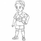 Colouring Page. Cute Cartoon Footballer, Young Boy Playing Football. Childish Design For Kids Colori poster