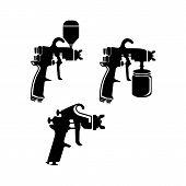 Auto Body Industrial Painting Spray Gun Vector Icons. Auto Paint Spray, Airbrush Equipment Gun Illus poster