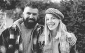 They Have Own Style. Lumberjack Style. Couple Wear Checkered Clothes Nature Background. Man Bearded  poster