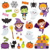 Halloween Clipart Set With Cute Cartoon Characters Of Children, Pumpkins And Other Holiday Symbols poster