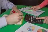 The Calculators, Business Owners, Accounting And Technology, Business, Laptop, Calculator And Docume poster