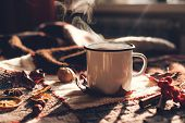 Hot Steaming Cup Of Coffee Or Tea With Fall Leaves And Spices On A Warm Plaid On A Bright Sunny Day. poster