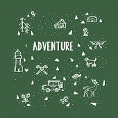 The Adventure Begins. Lettering Inspiring Typography Illustration With Text And Elements Isolated On poster
